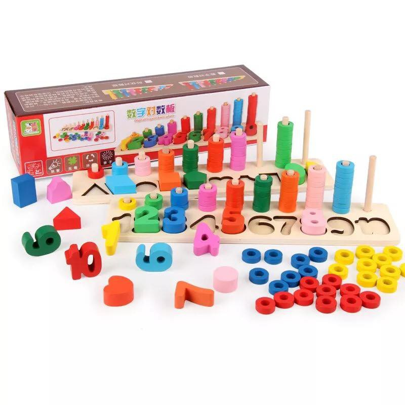 Bộ Học Đếm Hình Khối Bậc Thang Giáo Cụ Montessori Cho Bé