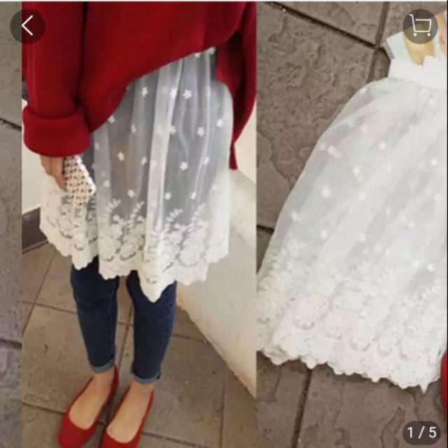 1024425033 - Chân váy ren lưới mặc lót phối như kiểu Hàn Quốc, váy ren lưới lót phối