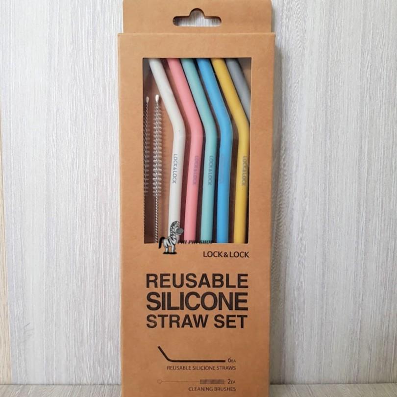 Bộ 6 ống hút silicone Lock&Lock TLL080 kèm 2 cọ rửa