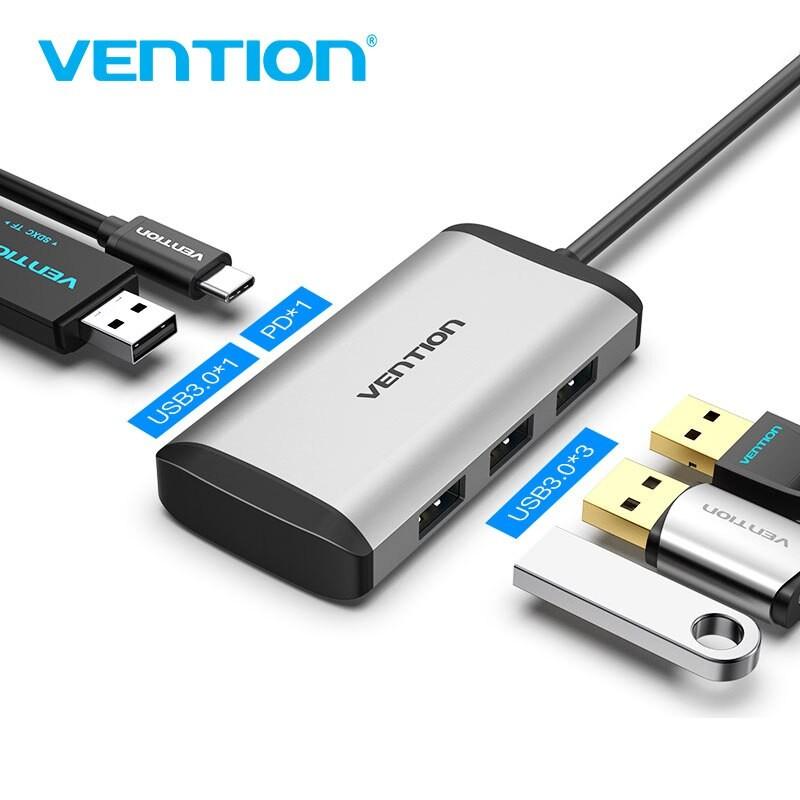 [Mã 2404EL10K giảm 10K đơn 20K] Cáp chuyển USB Type C to USB 3.0*4/ PD(87w) VENTION TGAHB (5 in 1) - BEN