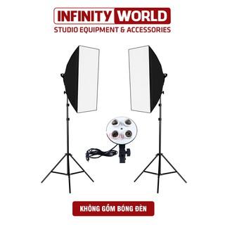 Bộ 2 đèn softbox chụp sản phẩm, livestream chuyên nghiệp đui 4 bóng E27 thumbnail
