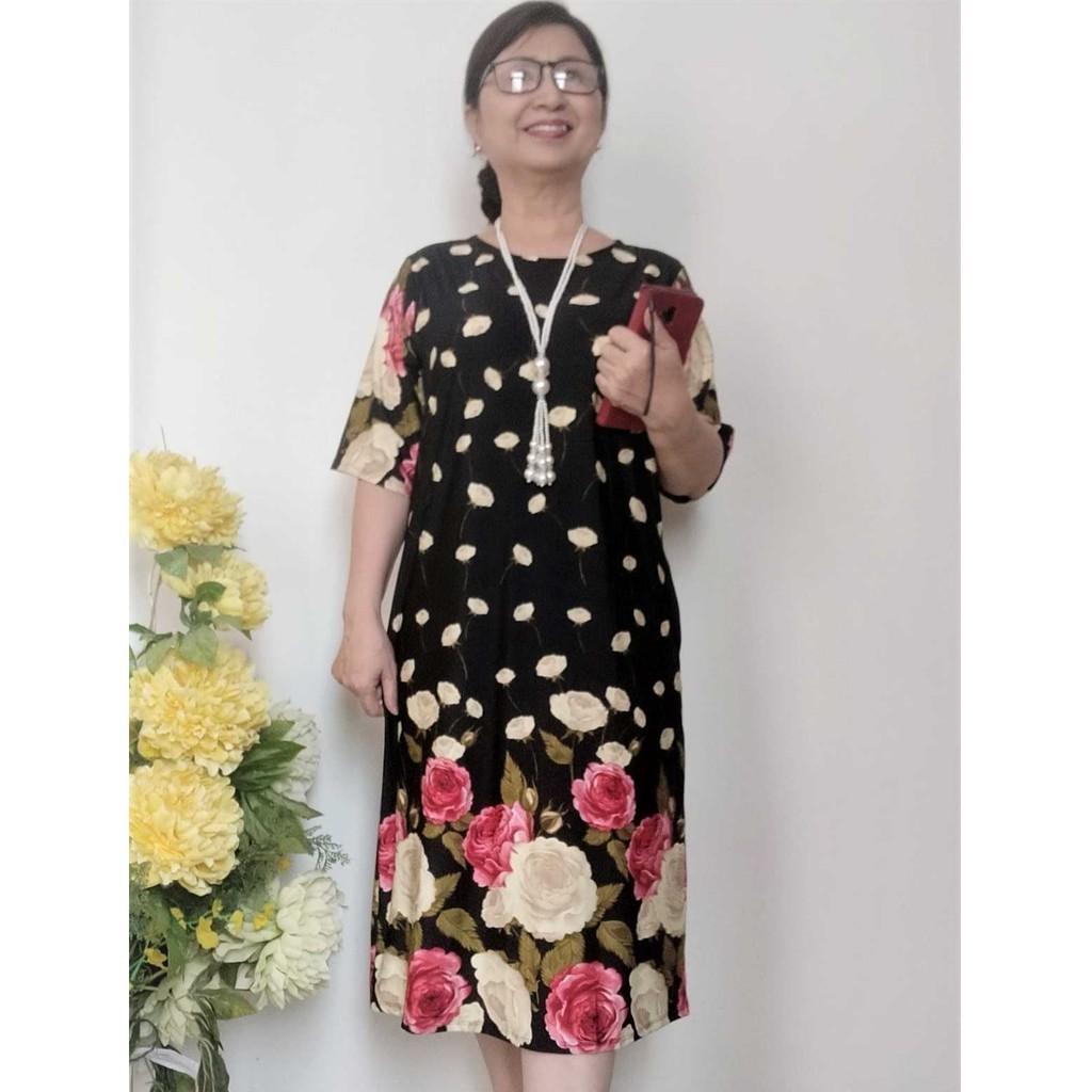 Váy Đầm Suông Trung Niên Có Túi - Thun Aty Co Giãn 4 Chiều - Hoa Chân thời Trang - Đủ Size Từ 45kg - 100Kg
