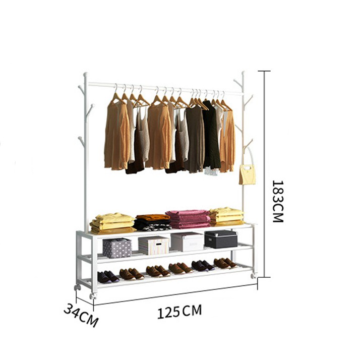 Giá treo quần áo di động có ngăn kệ để đồ và giày dép thông minh - Móc treo đồ, treo túi xách đa năng cho shop quần áo chính hãng 1,290,000đ