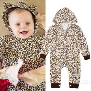 Mu♫-Infant Baby Girl Long Sleeve Leopard Hooded Romper Jumpsuit Outfits