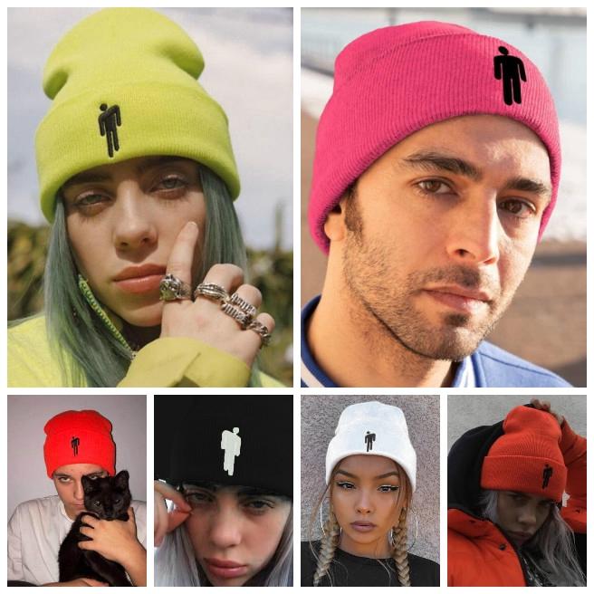 Mũ len màu trơn thêu hình cho nam và nữ