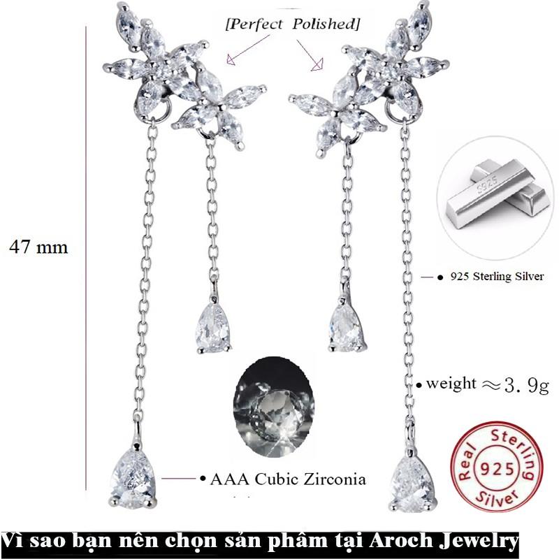 Khuyên tai bạc Ý s925 hoa đá thả dài E8924 - AROCH Jewelry