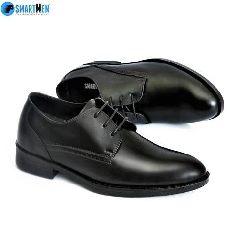Giày Công sở tăng chiều cao da bò thật SMARTMEN GD3-02 Đen