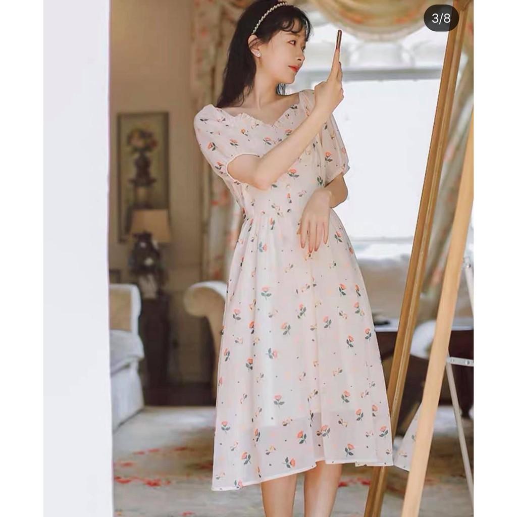 [SIÊU XINH] Váy hoa nhí 2 lớp bồng bềnh lên dáng cực xinh, ảnh thật phía sau