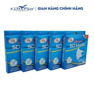 Combo 5 hộp khẩu trang y tế kháng khuẩn 3 lớp Famapro 5D Mask (10 cái hộp ) thumbnail