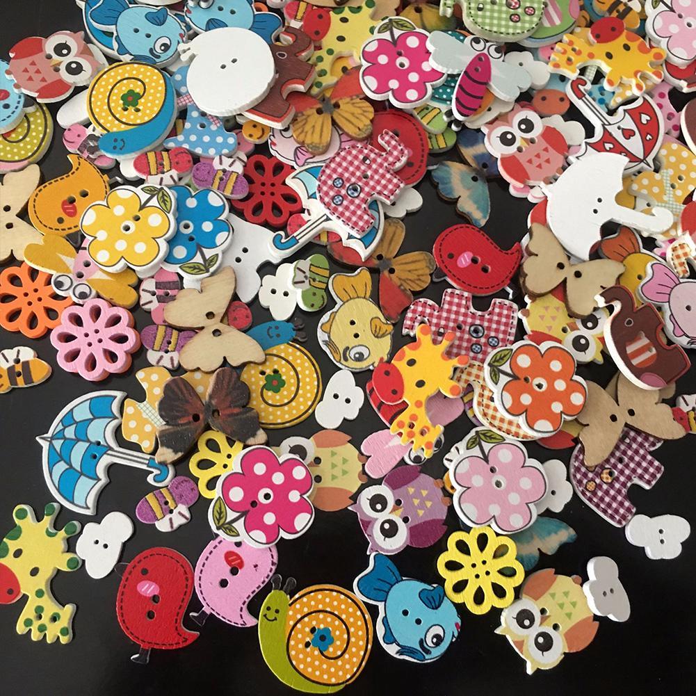 Button 2-holes Handmade Accessories Crafts Wooden Cute Sewing Cartoon DIY Scrapbooking