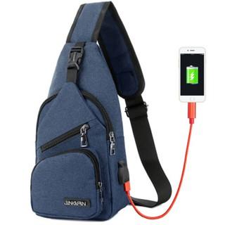 Túi đeo ngực vải thô kèm dây USB T0016