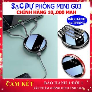 [Bán Chạy-Freeship] Sạc dự phòng G03 chính hãng 10000 mah kèm 4 cáp sạt đa năng xạc pin mini SD Design bảo hành 12 tháng thumbnail