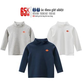 Áo giữ nhiệt bé trai 27KIDS áo dài tay cổ lọ cho bé thêu hình con cá chất cotton hàng xuất Âu Mỹ