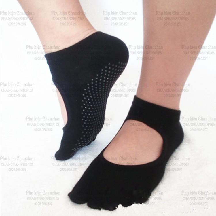 Vớ tập Yoga nữ - vớ xỏ ngón chống trượt (Mẫu 2, không hở ngón) 40k / đôi
