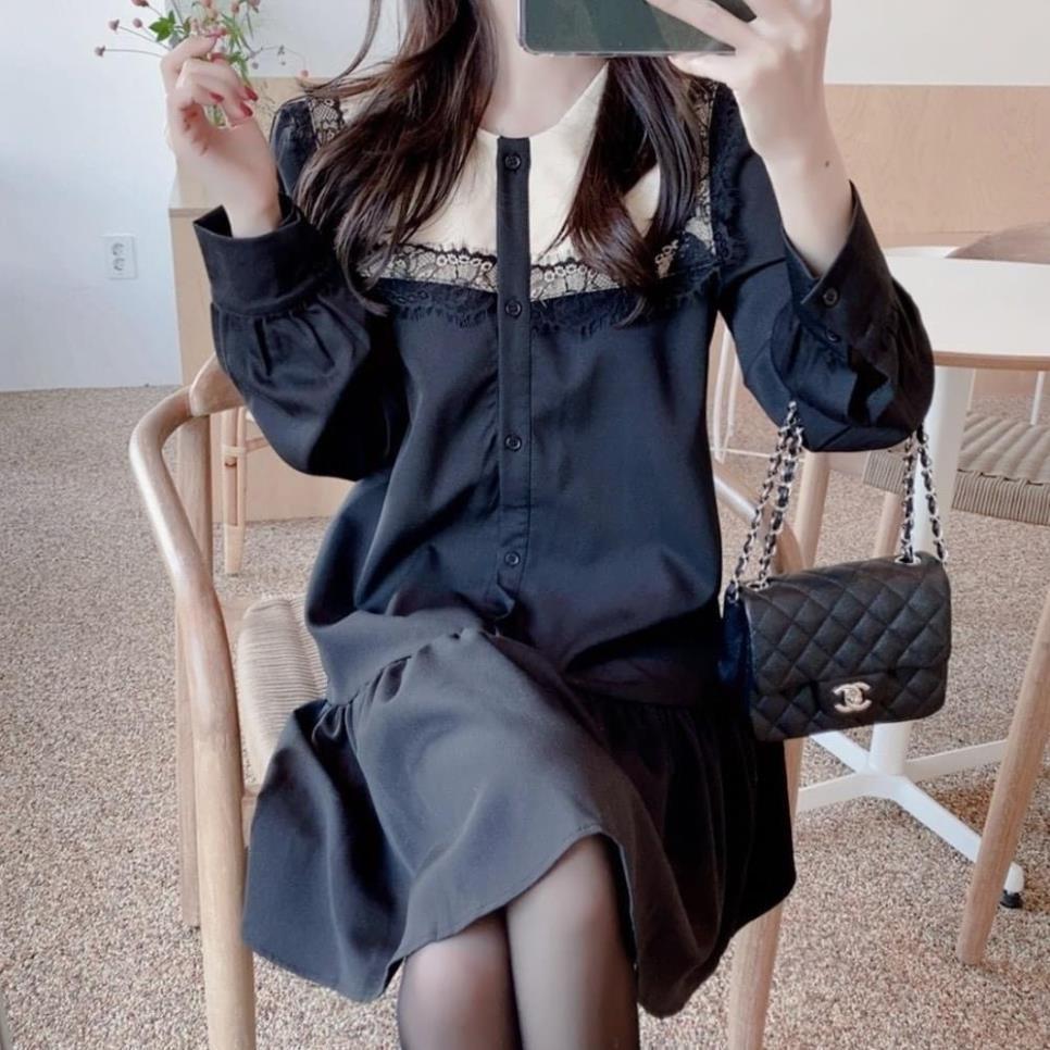 Váy bầu công sở thời trang thiết kế dài tay màu đen ren ngực chất đũi hàn freesize đến 70kg