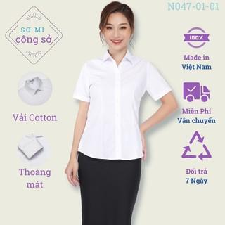 Áo sơ mi nữ công sở ngắn tay màu trắng, vải cotton Thái Hoà N047-01-01 thumbnail