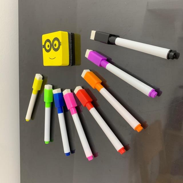 Bút lông viết bảng bút dạ nhiều màu xoá dễ dàng kèm tẩy (set 8 cây bút 8 màu và 1 tẩy hình Minion)