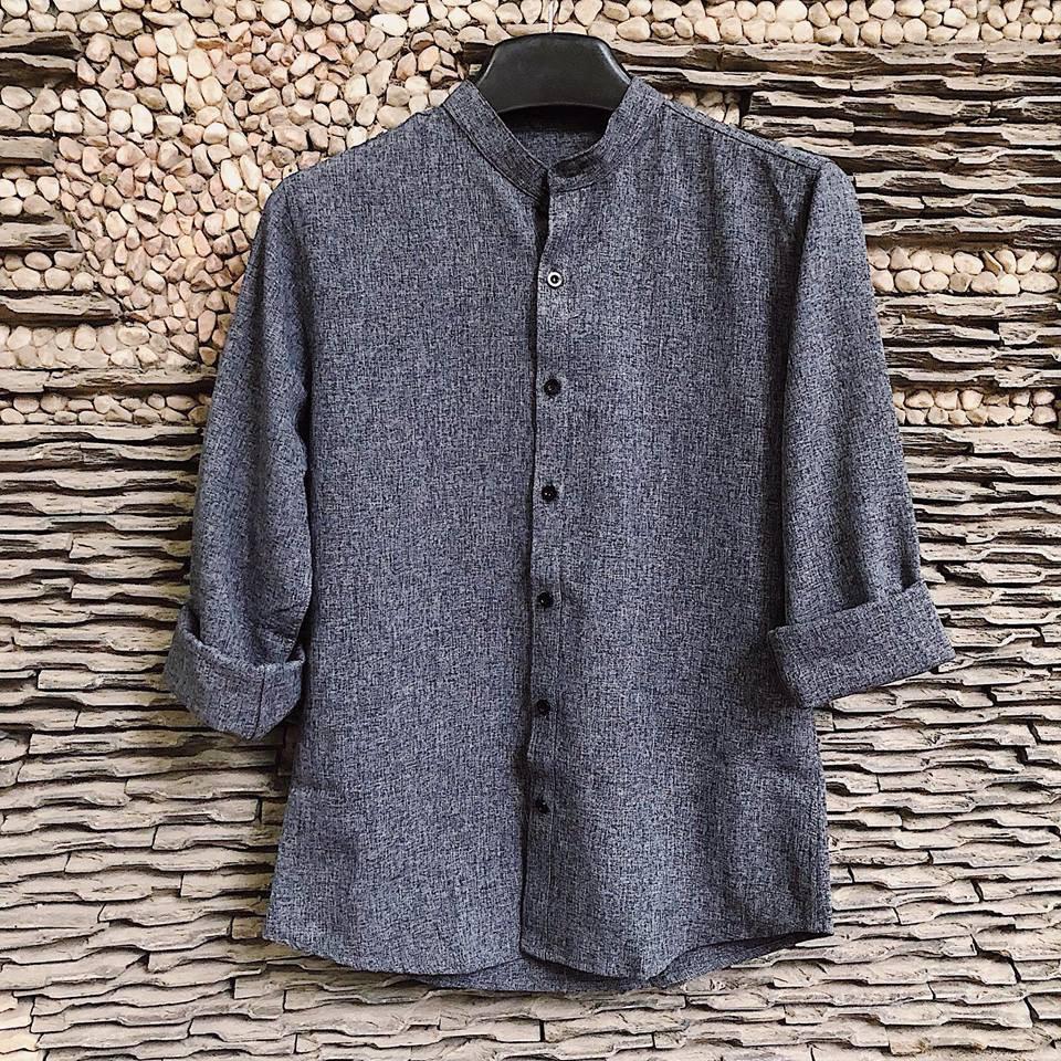 Áo sơ mi nam cổ tàu dài tay : chất vải đũi Ni-len cao cấp(SMTD)