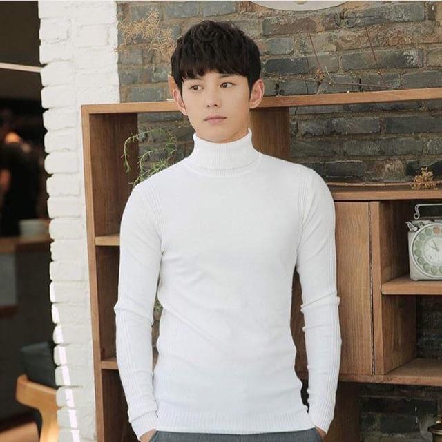 Áo len nam cổ cao màu trắng
