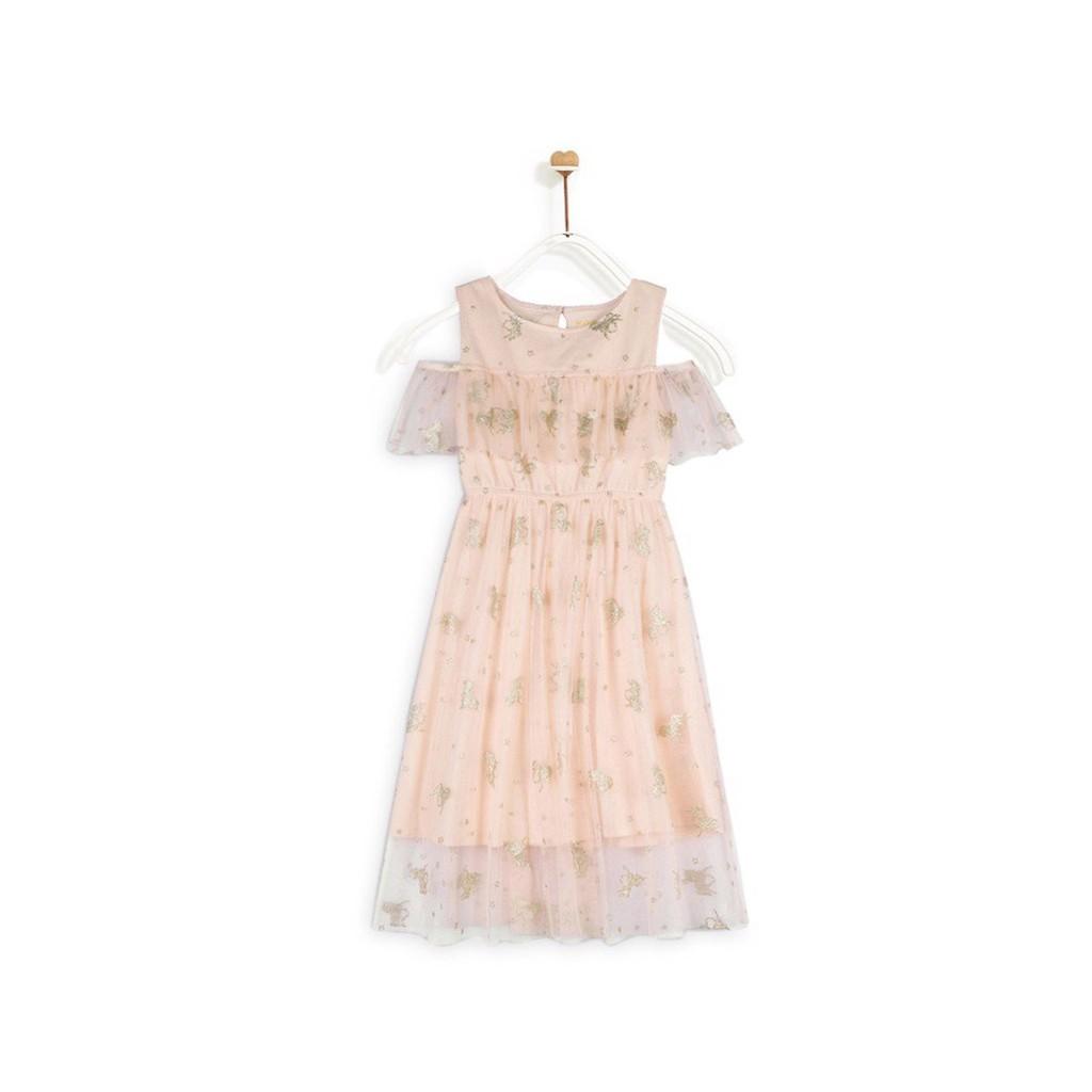 Đầm Bé Gái M.D.K Cropped Shoulder Fancy Midi Dress M.D.K