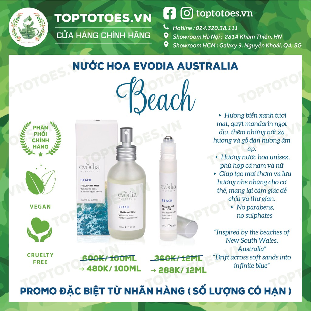 Nước hoa Evodia Australia BEACH