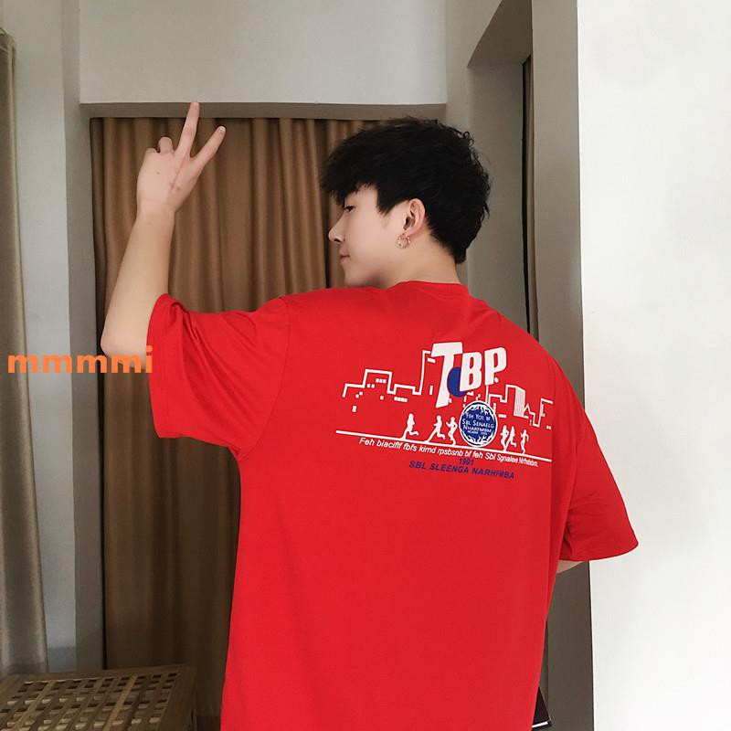 2019 gió Hồng Kông mùa hè siêu áo thun nam rung rinh kiểu dá