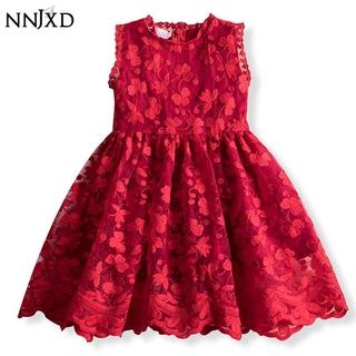 Đầm xòe kiểu công chúa phối ren lưới NNJXD dành cho bé gái mặc dự đám cưới/sinh nhật/tiệc tùng
