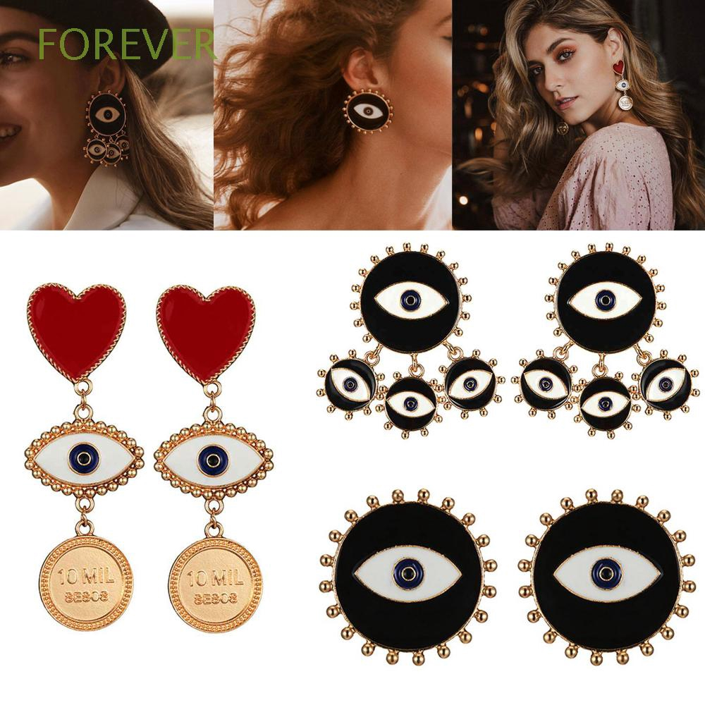 Party Jewelry Fashion Punk|Color Coin Evil Eye Earrings