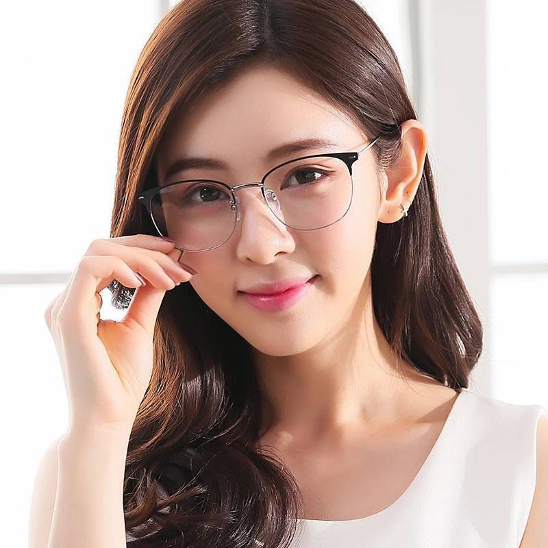 Kính Gọng Tròn Chống Tia Sáng Xanh Thời Trang Cho Nam Và Nữ hình dạng không đều Hàn Quốc Kính...