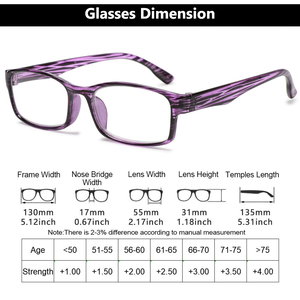 YVETTE Unisex Optical Spectacle Diopter + 1.0 + 4.0 Presbyopic Eyewear Reading Glasses Printed Frame Fashion Far Sight UltraLight Relieve...