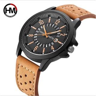 [Chính Hãng] Đồng hồ nam dây da HANNAH MARTIN HM -1601 Quartz kiểu dáng thể thao, mạnh mẽ và ấn tượng