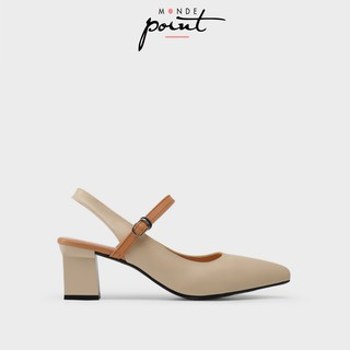 Giày nữ Cao gót quai hậu Monde Point MPWS06333-Da Nâu