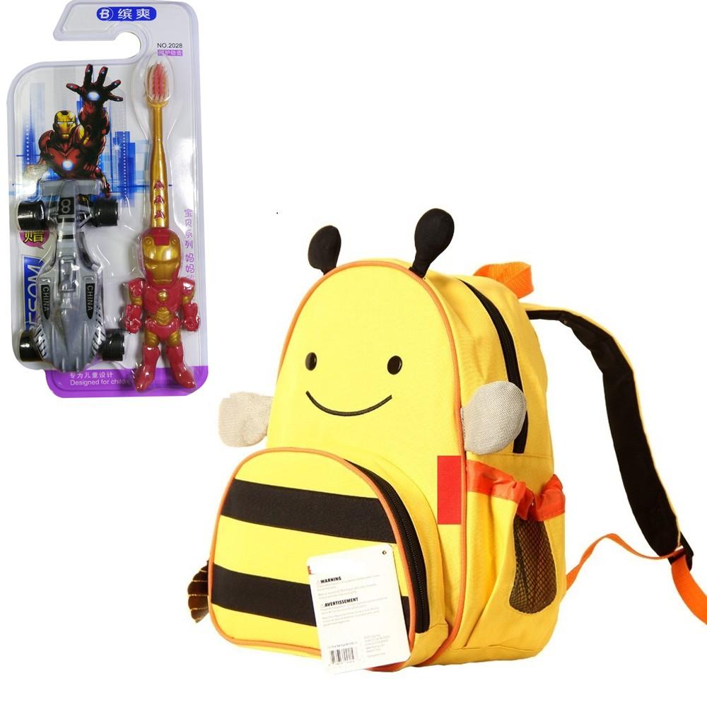 Ba lô hình thú ong vàng tặng kèm bộ bàn chải đánh răng iron man + xe đua chạy cót