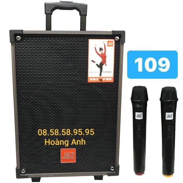 Loa kéo KARAOKE JBZ NE-109 loa 3 tấc tặng  kèm 2 mic không dây + phụ kiện