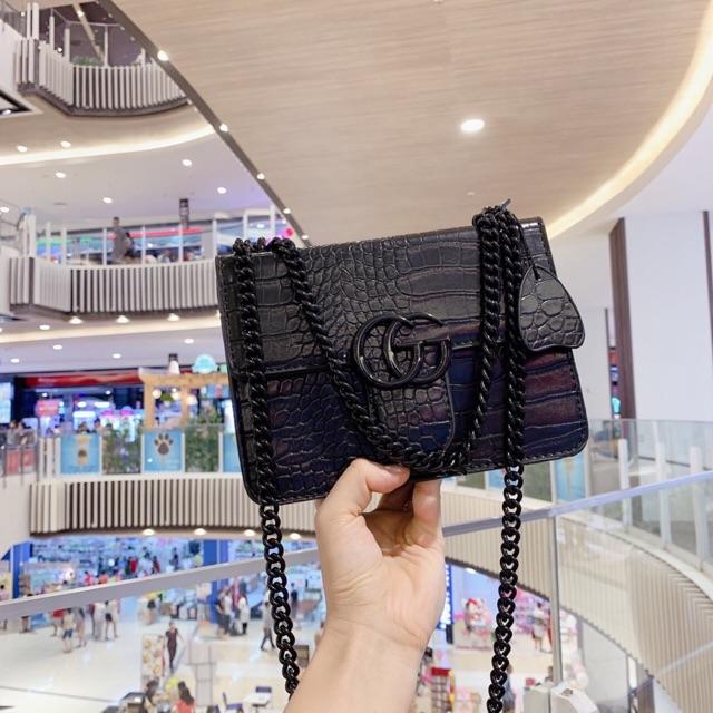 Túi đeo chéo nữ giá rẻ ⚜️ FREESHIP 50K⚜️ Túi xách nữ da vân dây xích đồng màu hàng quảng châu