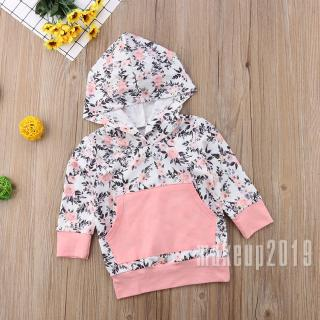 Mu♫-New Toddler Baby Girls Floral Hooded Sweatshirt Long Sleeve Pullover Hoodie Tops with Pocket Autumn Clothes