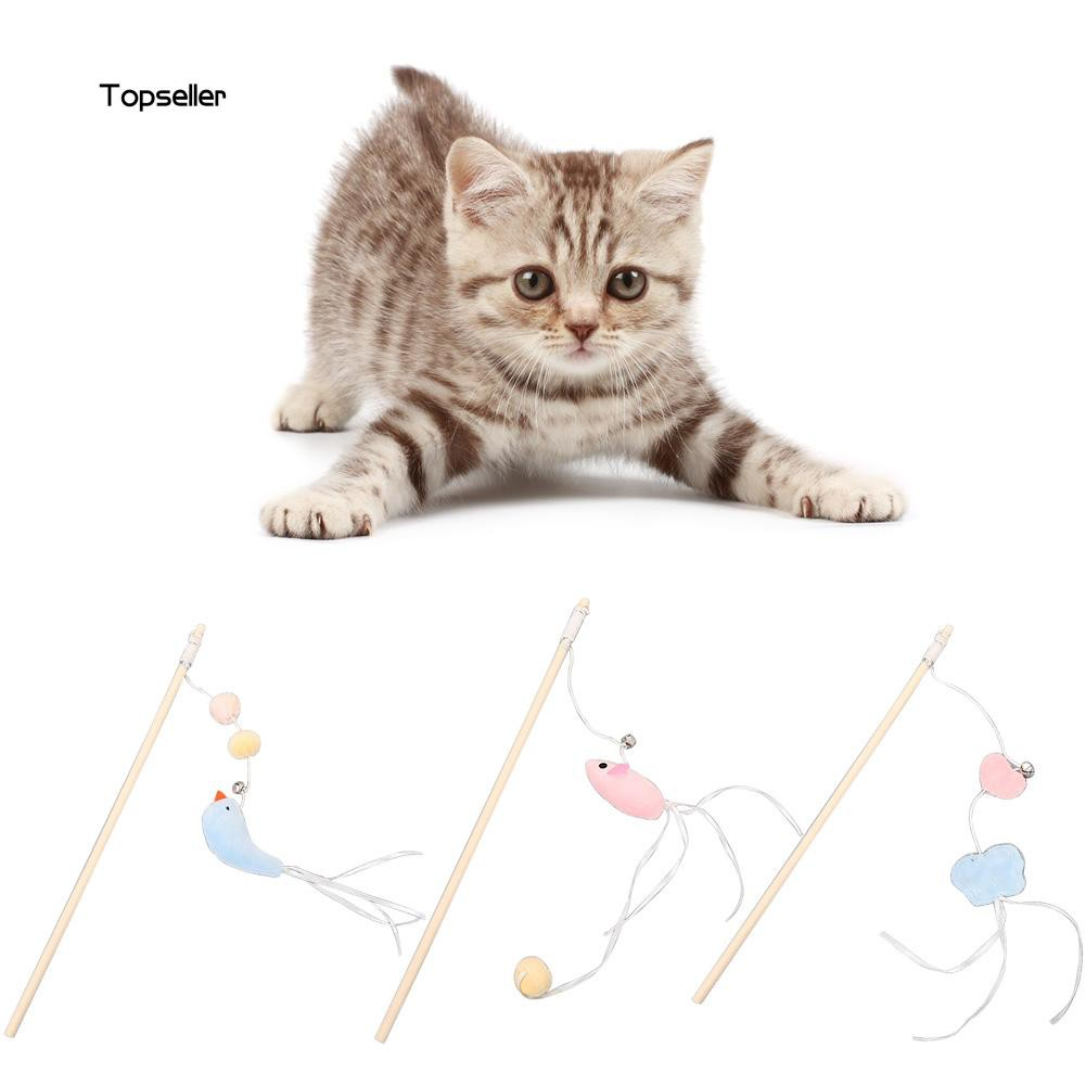 TOP✺Butterfly Mouse Bird Shape Cat Kitten Toy Teaser Wand Scratch Stick Pet Supplies
