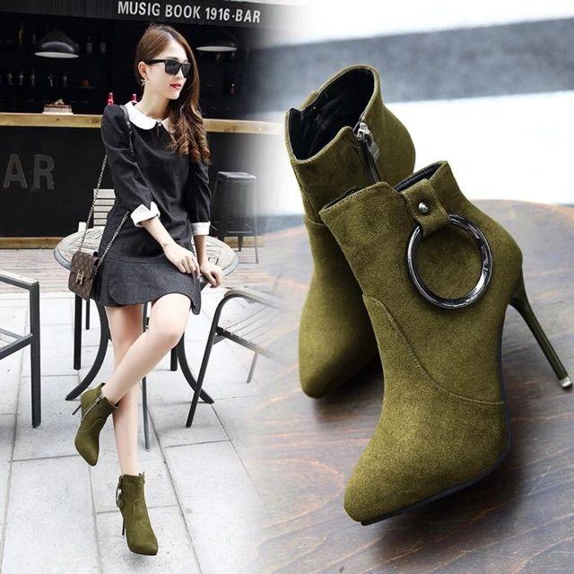 B18_Giày bốt nữ cao gót 10,5cm size 35-39
