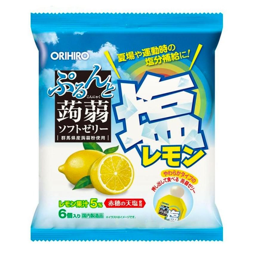 Orihiro Konjac Jelly Salty Lemon Pouch 120g. โอริฮิโระ คอนยัค เจลลี่ ซอลท์ตี้ เลมอน 120กรัม