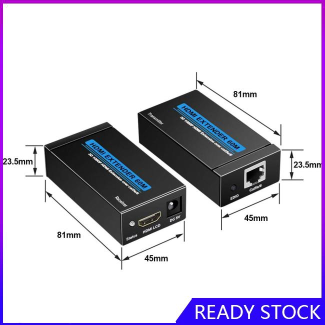 HDMI Extender Over Single Cat 5E/6/6a 60M Support Full HD 1080P 3D HDCP EDID Ethernet LAN Cable to