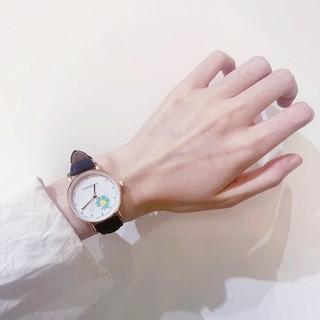 Đồng hồ thời trang nữ Candycat mặt hoa cúc dây da nhung mẫu cực hot