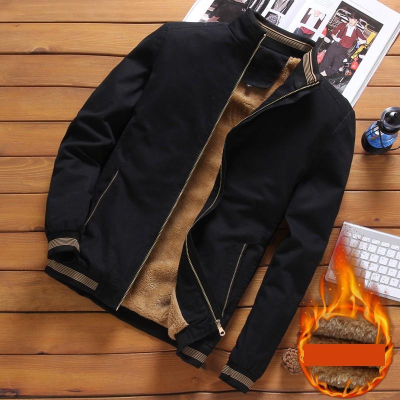 Áo khoác nam vải kaki lót lông thời trang aokhoacnam-0553 đen