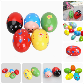 [willss] 5PCS Toddler Baby Rattles Wooden Music Egg Shaker Colorful Cute Play Toy A#S