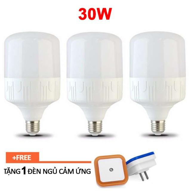(Tặng đèn ngủ tự động) Bộ 3 bóng đèn led trụ 30W siêu sáng - ánh sáng Trắng