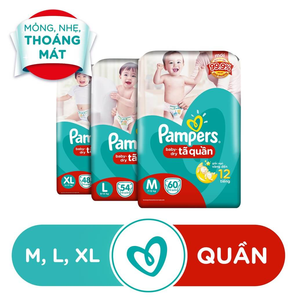 [Nhập PAMPERS1111 giảm 10%][HN]Tã Quần Pampers Baby-Dry bịch Jumbo đại đủ size M60/L54/XL48