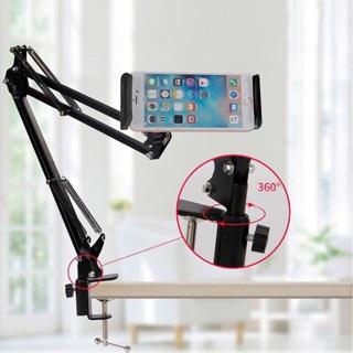 Giá đỡ Điện thoại iPad, máy tính bảng có chân kẹp đầu giường, cạnh bàn điều chỉnh được 360 độ