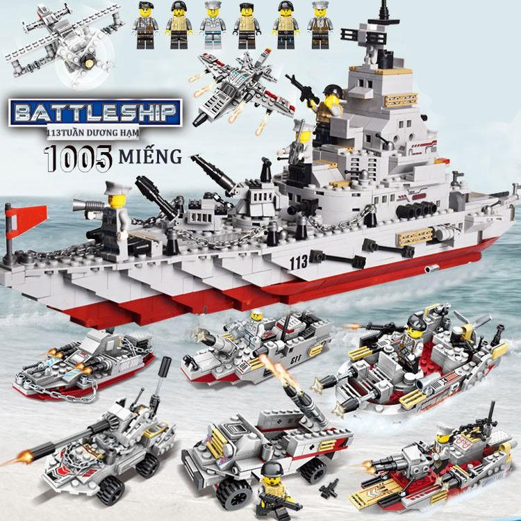 Khối xây dựng tàu chiến [1005 CHI TIẾT] BỘ ĐỒ CHƠI LEGO CHIẾN HẠM TUẦN DƯƠNG, LEGO TÀU THUYỀN CHIẾN BẢO VỆ BỜ BIỂN