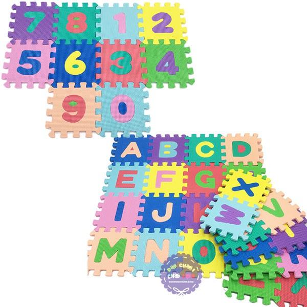 [TOYS1507 giảm 10% ngày 15/07]Bộ đồ chơi 36 miếng xốp ghép lót sàn hình chữ và số 14.5x14.5