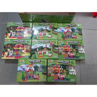Bộ 4 hộp xếp hình Minecraft giá rẻ ZP 1810 quà tặng cho bé
