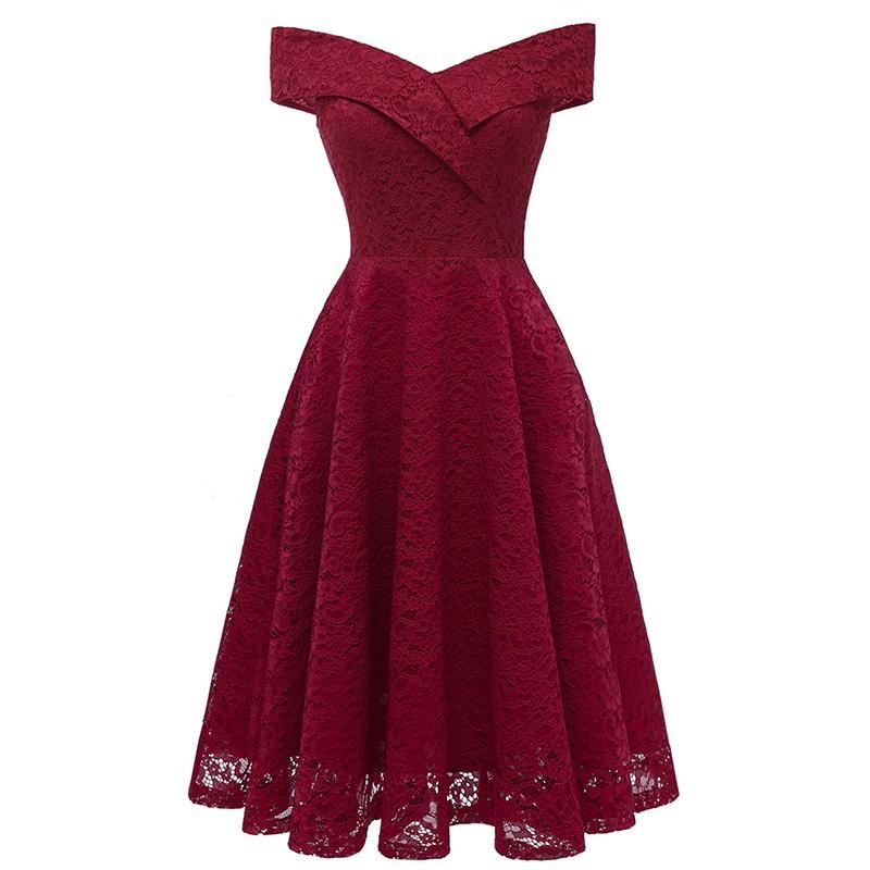 Specialhour Women Elegant Midi Dress Slim Solid Lace Party Dresses A Line Sleeveless Dress